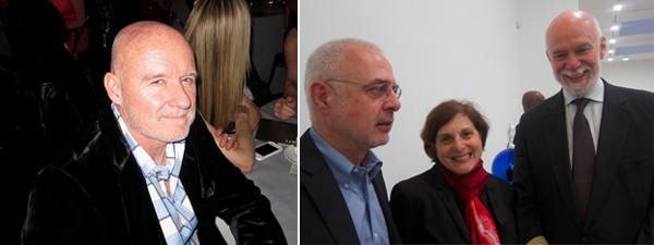 Left: Artist Jim Hodges. Right: Curator Francesco Bonami with MoMA curator Laura Hoptman and Guggenheim Foundation director Richard Armstrong.