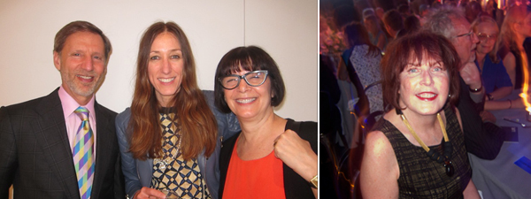 Left: Collector Peter Straus with dealer Carol Greene and collector Jill Straus. Right: Artist Marilyn Minter.