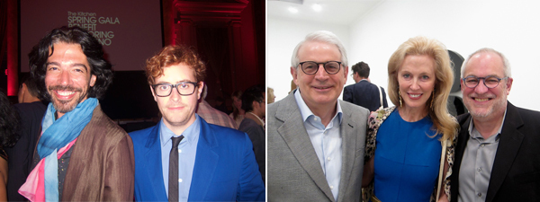 Left: Artists Eli Subrack and Thomas Dozol. Right: Collectors David Stockman and Jennifer Stockman with SF MoMA curator Gary Garrels.