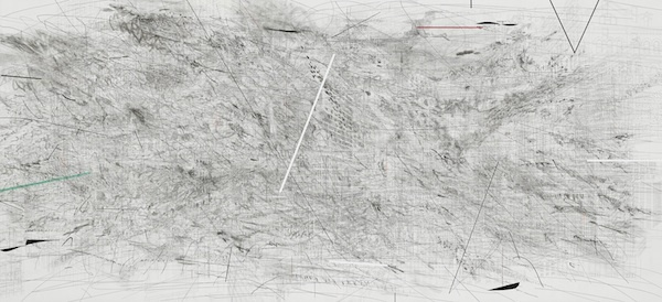 "Julie Mehretu, Invisible Line (collective), 2010-11, ink and acrylic on canvas, 11' 2/5"" x 24' 9/10""."