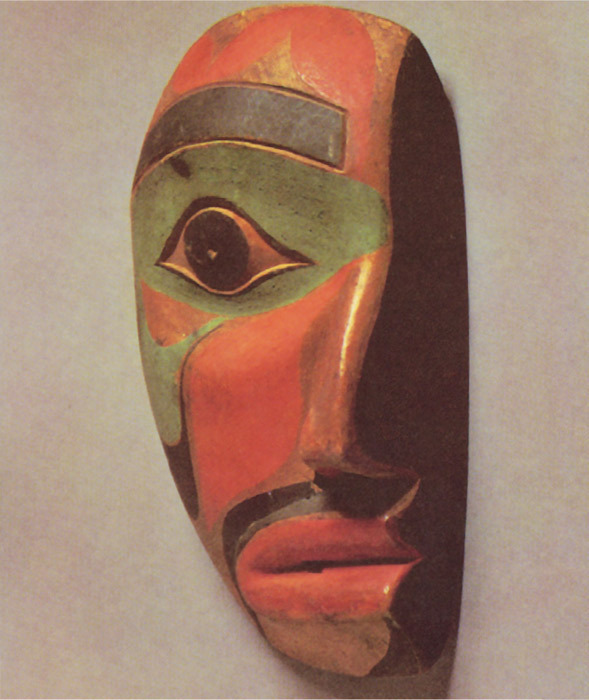 "Kwakiutl mask from British Columbia, n.d., painted wood, 13 1/4 x 7 1/4 x 4 1/4"". From ""'Primitivism' in 20th Century Art: Affinity of the Tribal and the Modern,"" Museum of Modern Art, New York, 1984."