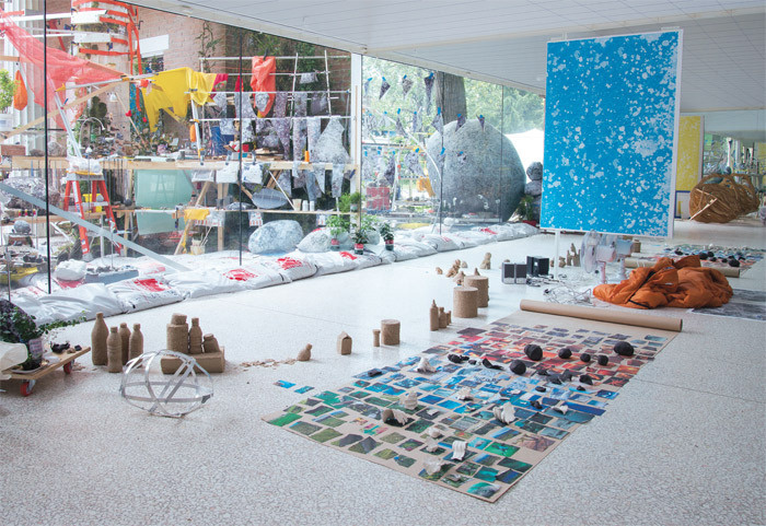 "Installation in progress for Sarah Sze's ""Triple Point,"" 2013, at the United States pavilion, Venice, for the 55th Venice Biennale, May 2013."