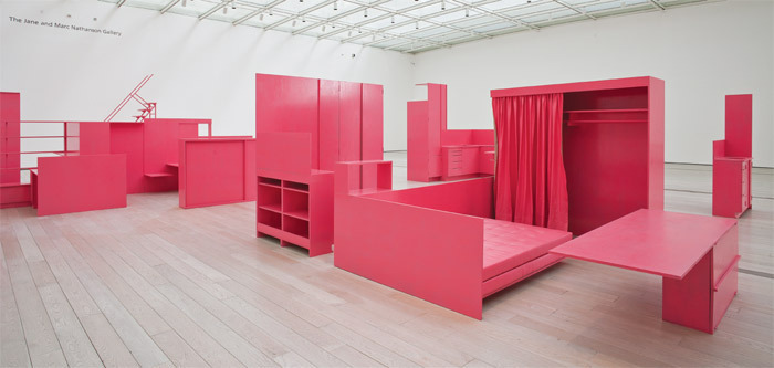 Stephen Prina, As He Remembered It, 2011, acrylic enamel on polyurethane on plywood, linen, metal. Installation view, Los Angeles County Museum of Art, 2013. Photo: Brant Brogan.