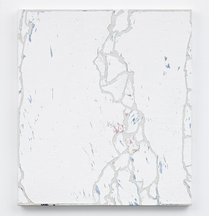 "Pavel Büchler, Modern Paintings No. A47   (blue and red abstract, Manchester, August 2007), 1997–2007, reclaimed paint on canvas, 30 x 26 3/4"". From ""The Confidence Man,"" 2011, Tanya Leighton Gallery, Berlin."