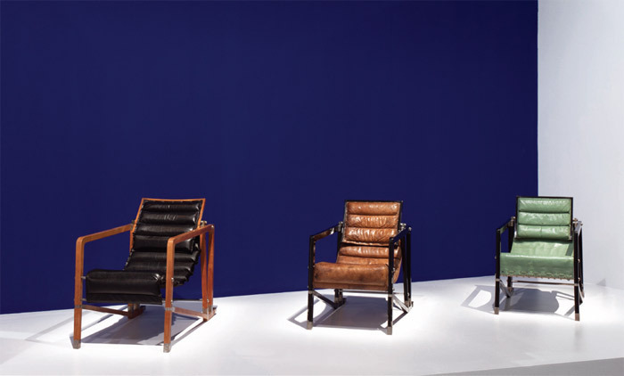 "View of ""Eileen Gray"" 2013. Transat armchairs, from left: 1926–29, 1926–30, 1930. Photo: Hervé Véronese."