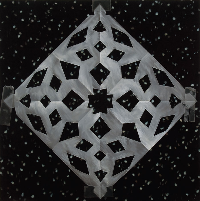 "Catherine Murphy, Snowflakes, 2011, oil on canvas, 52 x 52""."