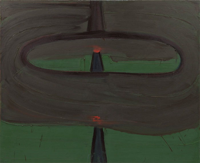 "Robert Bordo, DWI, 2012, oil on canvas, 45 x 55""."