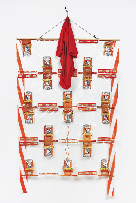 "B. Wurtz, Untitled (bread quilt), 2012, plastic bread bags, wood, string, thread, T-shirt, shoelace, caution tape, 80 x 45""."