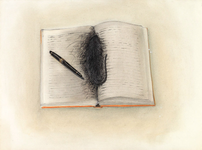 "Birgit Jürgenssen, Untitled, 1980, pencil, colored pencil, and oil crayon on paper, 15 1/2 x 20 1/2""."