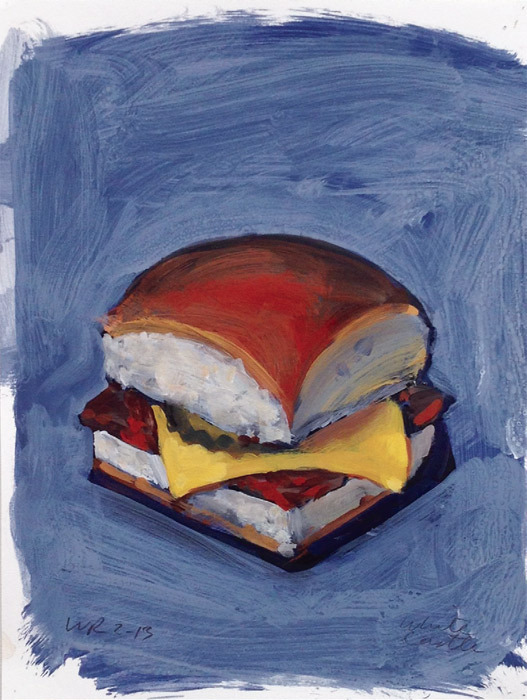 "Walter Robinson, White Castle, 2013, acrylic on paper, 9 x 12""."