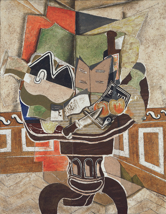 "Georges Braque, The Round Table, 1929, oil, sand, and charcoal on canvas, 57 3/8 x 44 3/4"". © Artists Rights Society (ARS), New York/ADAGP, Paris."