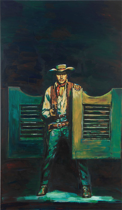 "Richard Prince, Untitled (Cowboy), 2012, ink jet and acrylic on canvas, 68 1/2 x 40 1/8""."