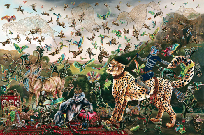 "Raqib Shaw, After George Stubbs ""Cheetah and Stag with Two Indians"", 2013, oil on canvas, 72 x 108 3/8""."
