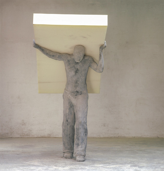 "Philip Aguirre y Otegui, Matrasdrager (The Mattress Porter), 2001, concrete, foam rubber, 82 5/8 x 42 1/8 x 70 7/8""."