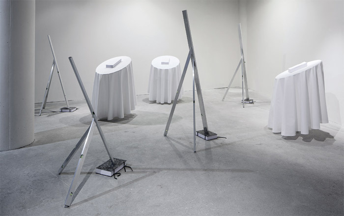 "View of ""Lukáš Machalický,"" 2013. Levels: Untitled, 2013. Tables: Untitled, 2013. From the series ""Raut"" (Reception) 2013–."