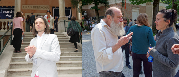 Left: Artist Jeremy Deller. Right: Artists Lawrence Weiner and Sarah Sze.