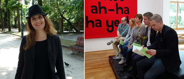 Left: French pavilion curator Christine Macel. Right: White Columns director Matthew Higgs, artist Anne Collier, and dealers Eva Presenhuber and Toby Webster in the British pavilion.