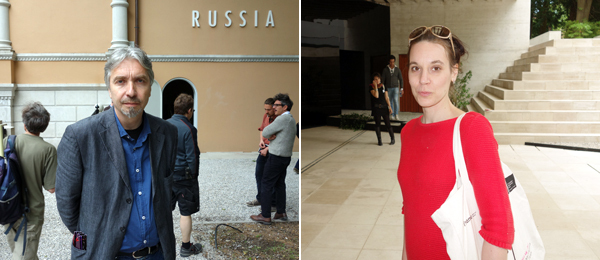 Left: Artist Vadim Zakharov at the Russian pavilion. Right: Artist Terike Haapoja at the Nordic pavilion.