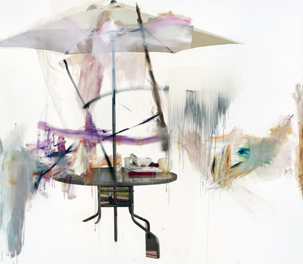 "Albert Oehlen, Untitled, 2011, oil and paper on canvas, 8' x 10' 2""."