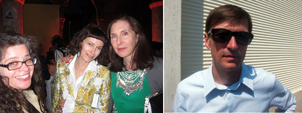 Left: Frieze cofounder Amanda Sharp with dealer Jeanne Greenberg-Rohatyn and artist Laurie Simmons. Right: Artist Matthias Poledna.