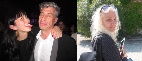 Left: Curator Victoria Yee Howe and artist Maurizio Cattelan. Right: Dealer Andrea Rosen.
