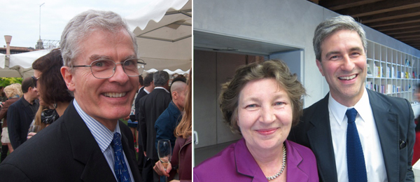 Left: Peggy Guggenheim Collection director Philip Rylands. Right: Pinault Foundation curator Caroline Bourgeois with LACMA director Michael Govan.
