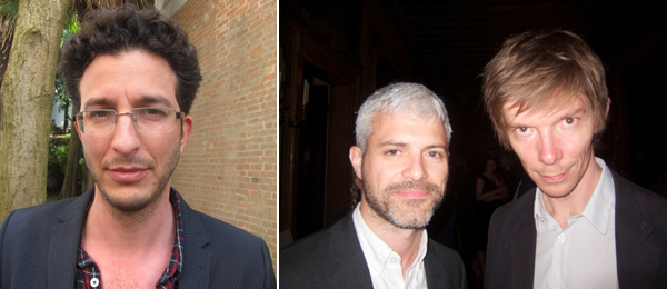 Left: Artist Gilad Ratman. Right: MoMA PS1 curator Peter Eleey and Kunsthalle Basel director Adam Szymczyk.
