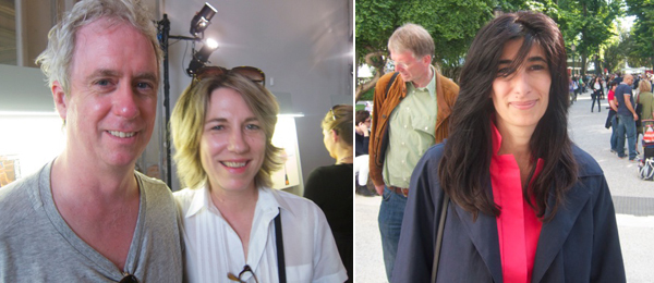 Left: Artists Tony Oursler and Jacqueline Humphries. Right: Curator Abeseh Mirvali.