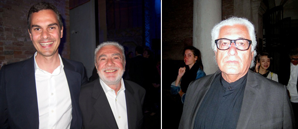 Left: Venice Biennale artistic director Massimiliano Gioni with Giovanni Gioni. Right: Curator Germano Celant. (All photos: Linda Yablonsky)