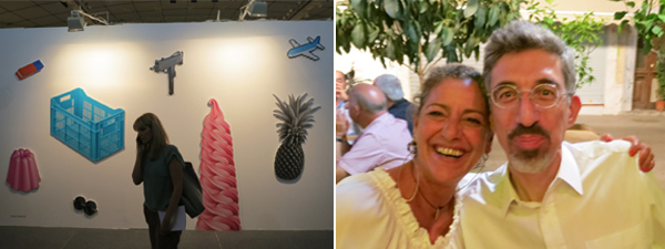 Left: Installation view of work by Pavlos Tsakonas. Right: Dealer Maria Demetriades and fair director Alexis Caniaris. (All photos: Cathryn Drake)