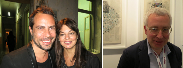 Left: Artist Thanos Kyriakides and curator Marina Fokidis. Right: Dealer Erik Mulier.