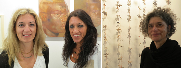 Left: Dealers Dimitra and Sofia Vamiali. Right: Artist Maria Ikonomopoulou.