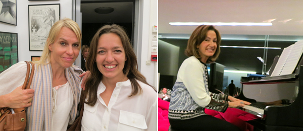 Left: Biennial Foundation director Marieke Van Hal and curator Filipa Ramos. Right: Collector Nineta Vafeia.