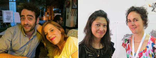 Left: Artist Theo Prodromidis and curator Katerina Nikou. Right: Artists Alexia Turlin and Valentina Pini of Milkshake Agency.