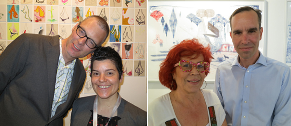 Left: Dealers Hans Bakker and Kiki Petratou. Right: Dealer Angeliki Antonopoulou and artist Yiorgis Yerolymbos.