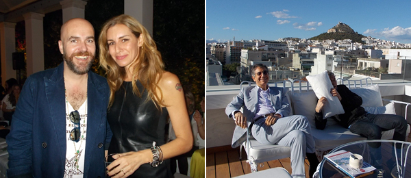 Left: Architect Andreas Angelidakis and Maria Joannou. Right: LA MoCA director Jeffrey Deitch with artist Maurizio Cattelan.