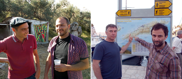 Left: Musicians Lakis Ionas and Aris Ionas. Right: Artist Paweł Althamer and curator Andrzej Przywara.