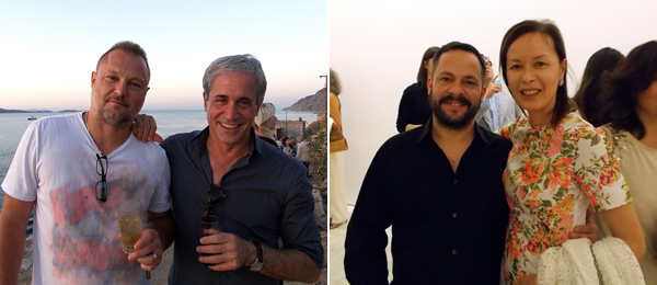 Left: Photographer Juergen Teller and Barney's creative director Dennis Freedman. Right: Dealers Javier Peres and Almine Rech.