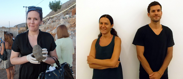 Left: Dealer Kathy Grayson. Right: Dealers Helena Papadopoulos and Andreas Melas.