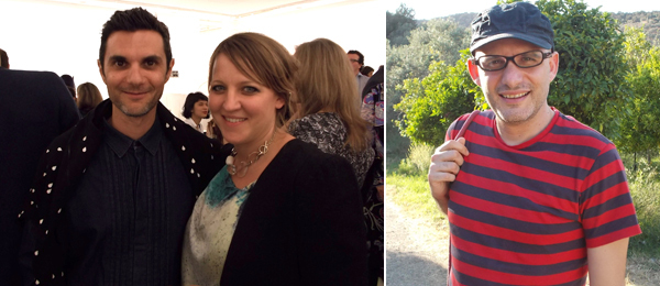Left: Artist Angelo Plessas and curator Nicola Lees. Right: Curator Poka-Yio at Lustlands.