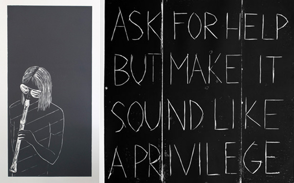 "Left: Annette Weisser, Blockflötenmädchen 1 (Recorder Girl 1), 2012, woodcut on paper, 59 x 34"". Right: Annette Weisser, Recommendations (Ask for Help but Make It Sound like a Privilege), 2011, woodcut on paper, 37 x 25""."