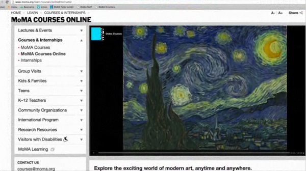 Detail of the Museum of Modern Art's web page for online courses.