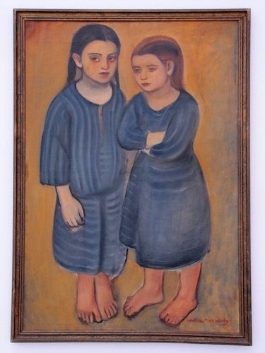 Loukia Nicolaedes, The Two Orphans, n.d, oil on canvas, 37 x 25.""