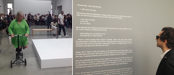 Left: MoMA PS1 founder Alanna Heiss with artist Sanford Biggers and Jay-Z. Right: Wall text at Pace Gallery for Picasso Baby. (Photo: Sarah Nicole Prickett)