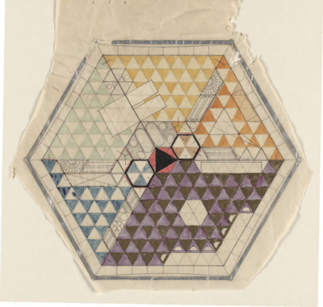 "R. Buckminster Fuller, Dymaxion House, Project Plan, ca. 1927, graphite, watercolor, metallic ink on tracing paper, 10 3⁄4 x 10""."
