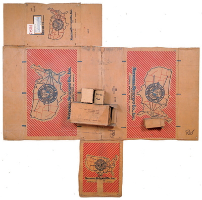 "Robert Rauschenberg, National Spinning/Red/Spring, 1971, cardboard and string, 100 x 98 1⁄2 x 8 1⁄2""."