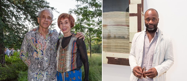 Left: Collectors Norman Stone and Norah Stone. Right: Artist Theaster Gates. (Photos: Drew Alitzer)