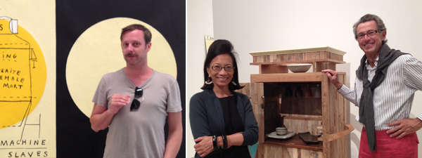 Left: Artist Leigh Ledare. Right: Collectors Cherise Moueix and Christian Moueix. (Photos: Allese Thomson)