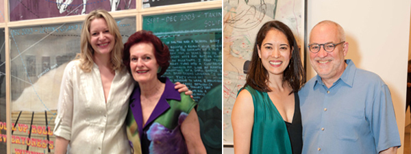 Left: Philanthropists Victoria Raiser and Helen Hilton Raiser. (Photo: Allese Thomson) Right: Suzanne Modica, partner at Thea Westreich Art Advisory Services, with Gary Garrels, senior curator of painting and sculpture at SF MoMA. (Photo: Drew Alitzer)