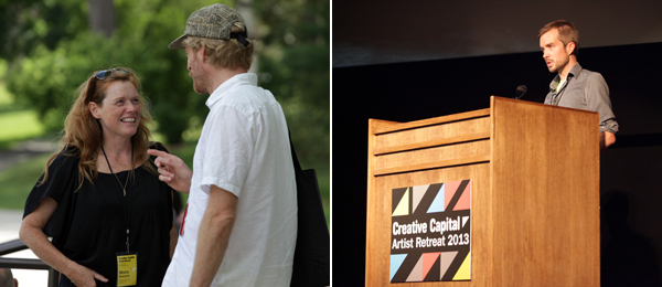 Left: MAP Fund program director Moira Brennan with Creative Capital grantee Jim Skuldt. Right: Creative Capital grantee Michael Robinson.